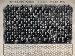 view Intercolonial Medical Congress of Australasia, Sydney, 1892: delegates: group portrait. Photograph of a photomontage, 1892.