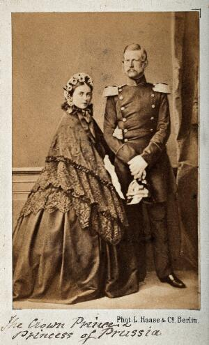 view Victoria (Vicky) Adelaide Louise, Princess Royal of England and later Empress of Germany, with her husband Friedrich, Crown Prince of Prussia, later Emperor of Germany. Photograph by L. Haase & Co, Berlin.