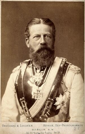 view Friedrich III, Crown Prince of Germany. Photograph by Reichard & Lindner, 1887.