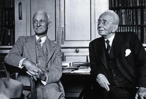 view Harvey Williams Cushing and Sir Charles Scott Sherrington. Photograph, 1938.