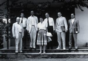 view Seven tropical disease scientists. Photograph.