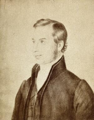view Thomas Hodgkin, as a young man. Photograph by E. Edwards, 1868, after a drawing.