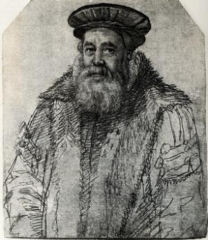 view Pieter van Foreest. Photograph after a drawing by H. Goltzius.