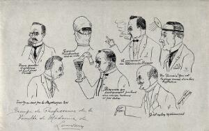 view Professors at the Medical Faculty, University of Louvain: seven caricatures. Drawing (?) by G. Parsy, ca. 1900 (?).