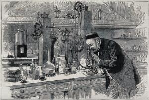 view Louis Pasteur in his laboratory, looking through a microscope. Wood engraving (?), 1885.
