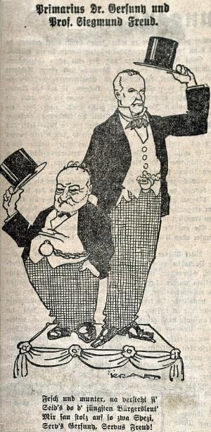view Robert Gersuny and Sigmund Freud: caricatured, standing on a dais in formal dress, raising their top hats. Line block, 1924.