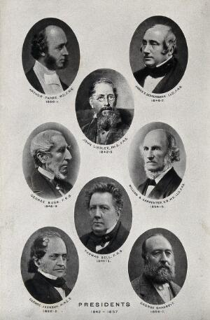 view Royal Microscopical Society Presidents, 1842-1857: eight portraits. Photolithograph, ca. 1880.