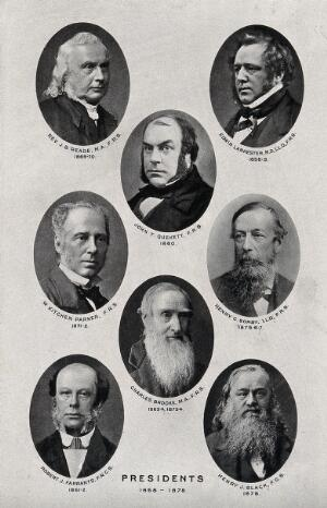 view Royal Microscopical Society Presidents, 1858-1878: eight portraits. Photolithograph, ca. 1880.
