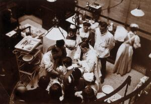 view Charing Cross Hospital: Stanley Boyd in the old operating theatre. Photograph, 1900.