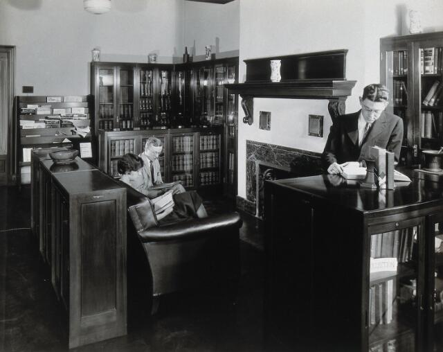 Philadelphia College of Pharmacy and Science: college library with students reading. Photograph, c. 1933.