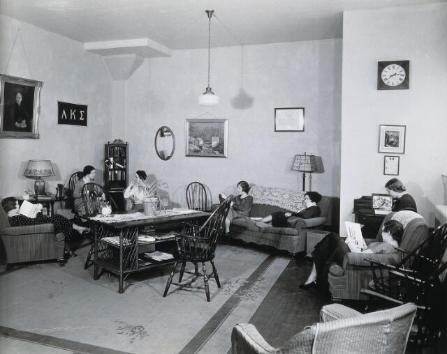 Philadelphia College of Pharmacy and Science: women students in a sitting room. Photograph, c. 1933.