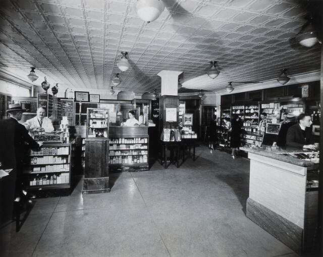 Philadelphia College of Pharmacy and Science: pharmacy area for students. Photograph, c. 1933.