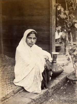 view Female patient recovering from bubonic plague, during the ou