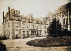 view Military Hospital V.R. 76, Ris-Orangis, France: south side of building. Photograph, 1916.