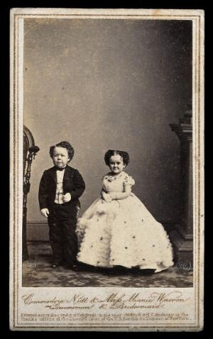 view Two dwarfs: Minnie Warren and Commodore Nutt, bridesmaid and groomsman at the wedding of General Tom Thumb in New York. Photograph by Mathew Brady, 10 February 1863.