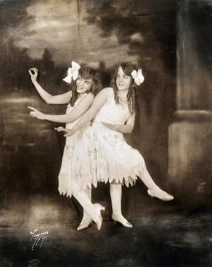 view Daisy and Violet Hilton, conjoined twins, dancing. Photograph, c. 1927.