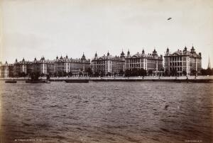 view St Thomas's Hospital seen from across the Thames. Photograph.