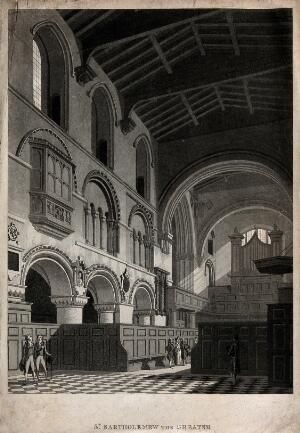 view The church of St. Bartholomew the Great: interior view showing the organ gallery. Aquatint, c. 1740.