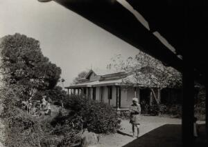 view The Pasteur Institute Hospital, Kasauli, India: hospital building for patients with rabies. Photograph, ca. 1910.