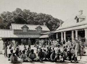 view The Pasteur Institute Hospital, Kasauli, India: Indian patients awaiting treatment (with the rabies vaccine?). Photograph, ca. 1910.