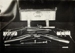 view The Pasteur Institute, Kasauli, India: instruments used in animal experimentation, particularly in work with rabbits to develop rabies vaccines. Photograph, ca. 1910.