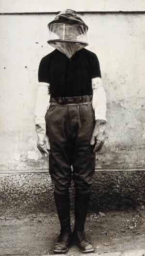 view Mosquito headnet and long protective gloves modelled by a man posed in front of a wall. Photograph, 1900/1920.