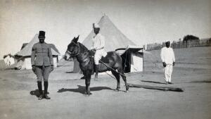 view Egypt (?): a military desert camp with tents, a horseman with a device for sweeping the camp attached to the horse, and a colonial soldier. Photograph by J. D. Graham, 1914/1918 (?).
