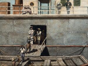 view Bananas that may harbour mosquitos carrying the yellow fever virus, being loaded onto a ship in the West Indies (?). Watercolour by E. Schwarz, 1920/1950 (?).