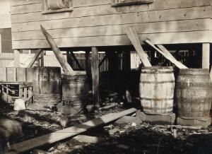 view Panama (?): unhygienic water barrels alongside a wooden house; resident children in the background. Photograph, ca. 1910.