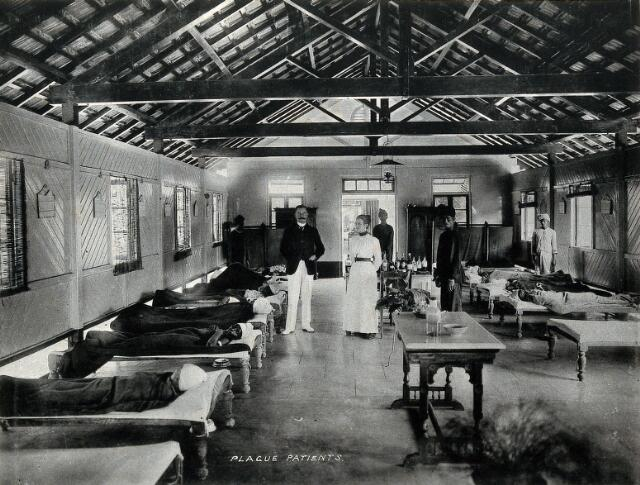 Bombay plague epidemic, 1896-1897: interior of a plague hospital. Photograph attributed to Clifton & Co.