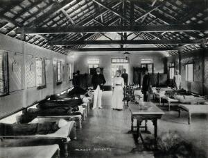 view Bombay plague epidemic, 1896-1897: interior of a plague hospital. Photograph attributed to Clifton & Co.