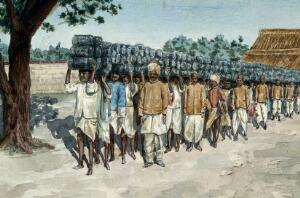 view India: a line of Indian men carrying metal traps for plague prevention on their heads, from the Health Department stables to be distributed in the nearby city. Watercolour by E. Schwarz-Lenoir.