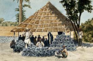 view India: metal rodent traps in a pile; the rat-catchers gather under a grass-roofed shelter to be paid. Watercolour by E. Schwarz-Lenoir, 1915/1935 (?).