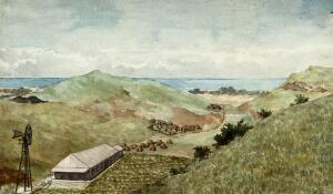 view Amatikulu, Kwazulu-Natal, South Africa: a settlement for people with leprosy. Watercolour by E. Schwarz, 1920/1950 (?).