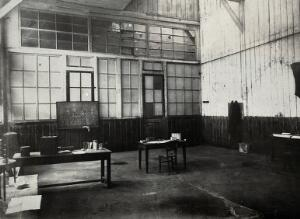 view The laboratories of Marie and Pierre Curie, Paris: room where experiments on uranium ore took place. Photograph, ca. 1900.
