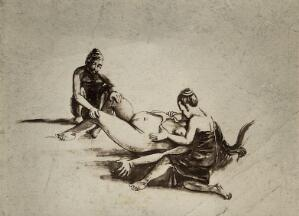 view A woman in childbirth aided by two female attendants, one of whom holds her stomach, the other holds her knees. Photograph, ca. 1930, of a Burmese painting, ca?