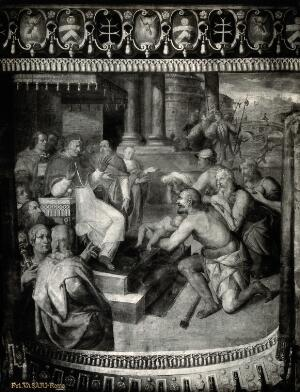 view Pope Sixtus IV being shown the cadavers of dead illegitimate children picked out of the Tiber, and deciding to reform the law which allowed their infanticide. Photograph by Ditta Vasari, 19-- (?) after a freso painting.