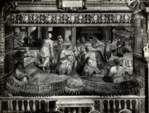 view The foundling hospital of the Ospedale Santo Spirito in Sassia, Rome: wet-nurses looking after the babies, and Pope Sixtus IV ordering the rebuilding. Photograph by Ditta Vasari, 19-- (?) after a fresco painting.
