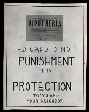 view Public information notice, featuring a diphtheria quarantine card, Pennsylvania. Photograph, 1910/1930?
