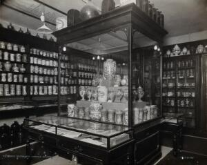 view Wellcome Historical Medical Museum, Wigmore Street, London: a display of pharmacy jars. Photograph, c. 1920.