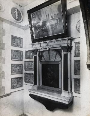 view Wellcome Historical Medical Museum, Wigmore Street, London: the Chapel of Votive Tablets. Photograph from a negative of 1913.