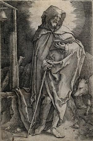 view Saint Antony Abbot. Line engraving by Lucas van Leyden.