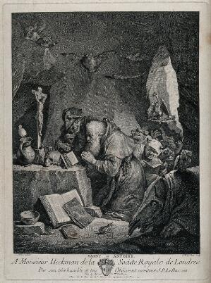 view The temptation of Saint Antony Abbot. Etching by J.P. Le Bas after D. Teniers.