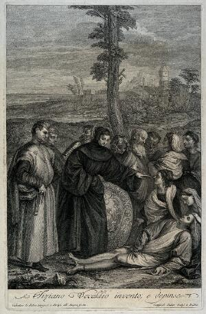 view Saint Antony of Padua: the miracle of the amputated foot. Engraving by V. Lefebvre and G. Seuter after Titian.