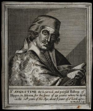 view Saint Augustine of Hippo. Engraving by W. Marshall, 16--.