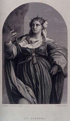 view Saint Barbara. Steel engraving by K. H. Merz after J. Palma.