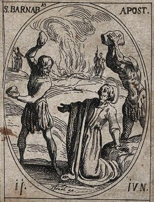view Saint Barnabas: his martyrdom by stoning. Etching by J. Callot.