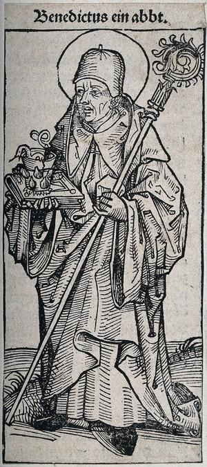 view Saint Benedict. Woodcut.