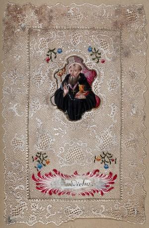view Saint Benedict. Gouache painting.