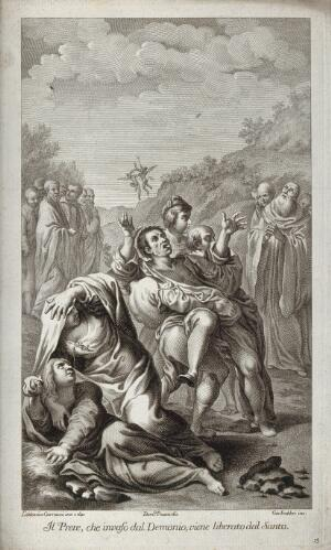 view Saint Benedict of Nursia: he frees a priest who had been possessed by devils. Engraving by G. Fabbri, 1776, after D. Fratta after L. Carracci.